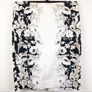 WHBM Neutral Floral Pencil Skirt